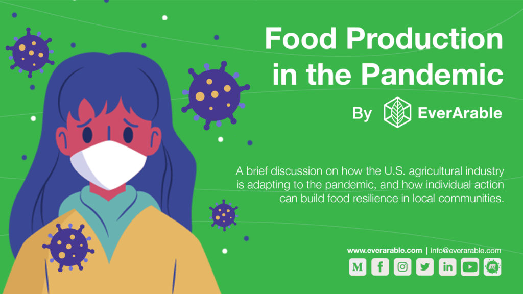 Event poster with the title food production in the Pandemic
