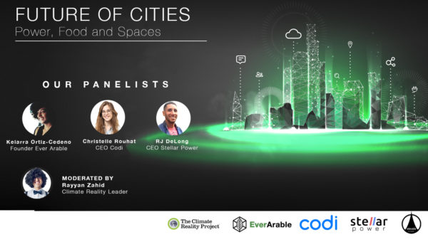 Poster of future of cities with different speakers